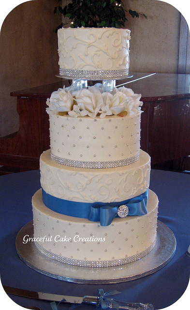 Elegant White and Cornflower Blue Wedding Cake with Silver Accents by Graceful C