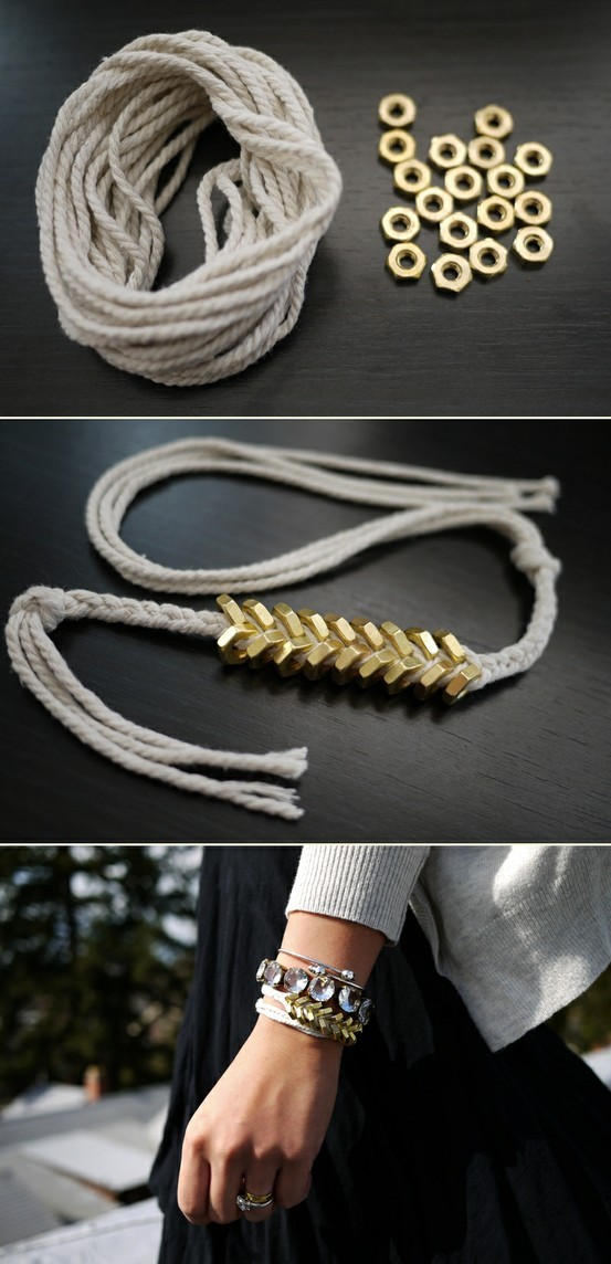Bracelet made with what looks like clothes line and brass nuts or washers. Lovel