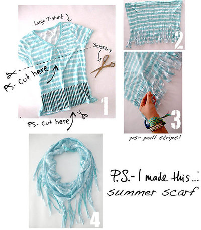 "T-shirt Scarf DIY: ""This is an easy breezy project that should take you a few mi"