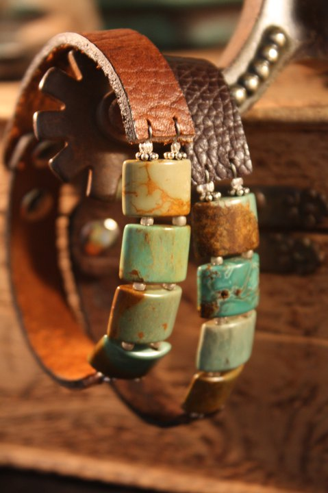 Turquoise and leather bracelets…layer layer layer! ❤