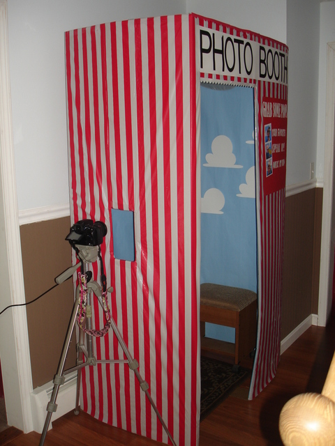 DIY Photo Booth! Decorate backdrop to match your theme. Cute idea and a lot chea
