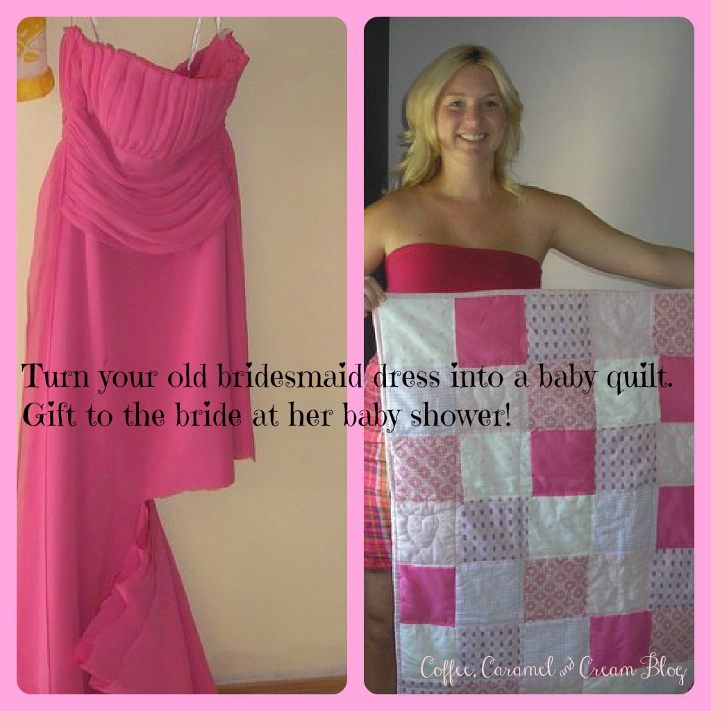 Bridesmaid Dress into a Baby Quilt…and gifted back to the bride at her baby sh