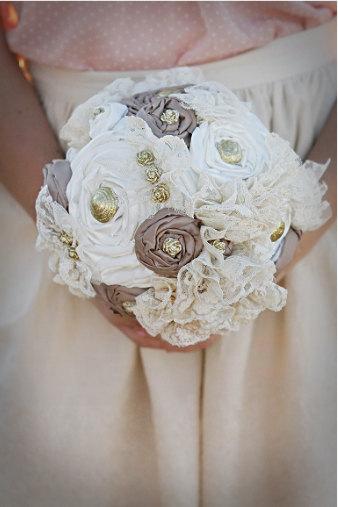 Neutral fabric flower bouquet. All handmade gold embellishments.