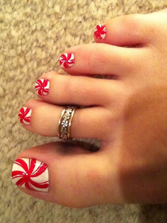 christmas, cute, nail art, peppermint, toe nails