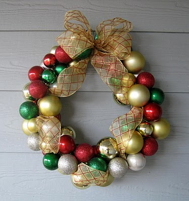 Dollar Store Ornament Wreath – All you need are some ornaments and a hot glue gu