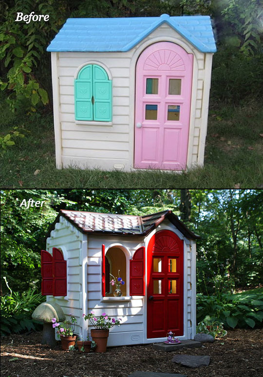 Typical Little Tikes playhouse painted with rustoleum spray paint. Perfect for t