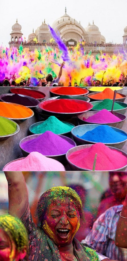 Holi Festival – a Hindu spring tradition where people throw brightly colored, pe