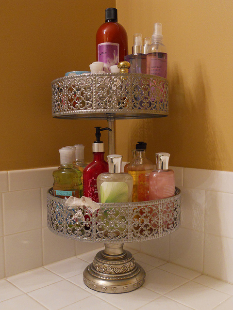 cake stands or tiered plant stands to declutter counters