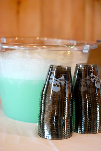 easy halloween punch. just sprite and lime sorbet. it even bubbles when mixed.