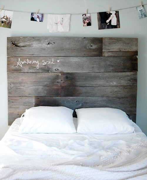 I love the headboard and also the idea of photos pegged on a wire above it!  #be