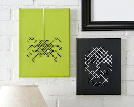 DIY Halloween Cross Stitch Canvases.