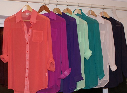 sheer colored button down tops ♥