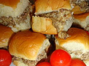 Combine hamburger, sausage, and Velveeta…great on slider buns or the sweet Haw