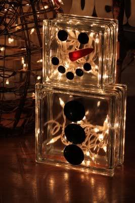Snowman with glass blocks