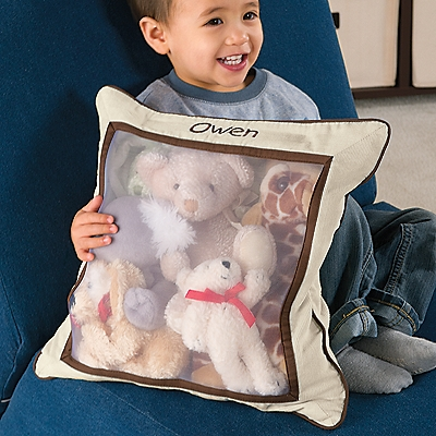 Stuffed Animal Storage Pillow is perfect for taking to Grandma's house. One