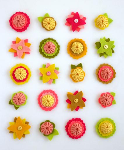 felt flower charms