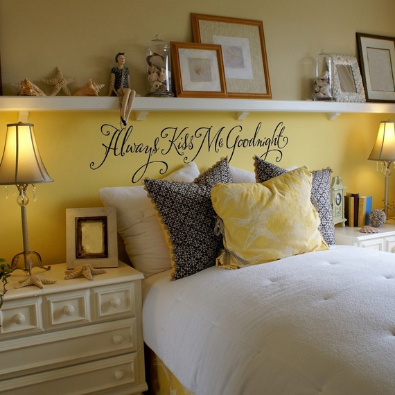 Instead of a headboard, put up a long shelf…love the mantle.