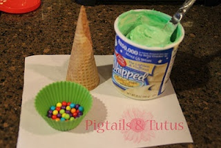 Instead of gingerbread houses decorate sugar cones with frosting and candy to ma