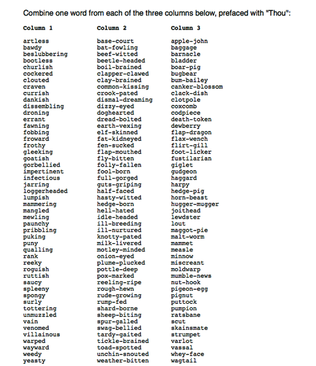 Shakespeare Insult Kit: Combine 1 word from each of the 3 columns, preface with