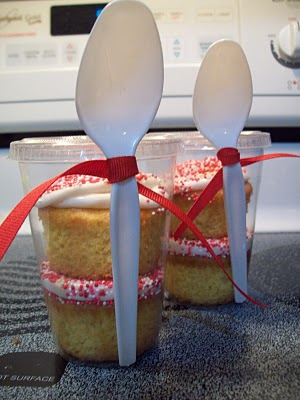 Cupcakes in a to go cup with spoon attached–great idea for bake sale/ fundraise