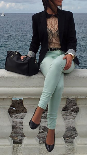 Do it your self.  Blazer- Forever 21 $ 25  Mint jeans- Using tulip dye in Green