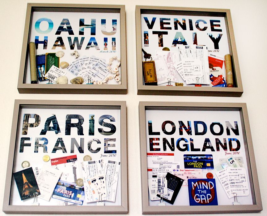 Save maps, tickets, and pictures from travel memories to create wall art.