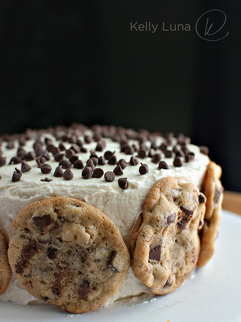 Chocolate chip cookie dough cake. – I made the cupcakes along with a cookie mons
