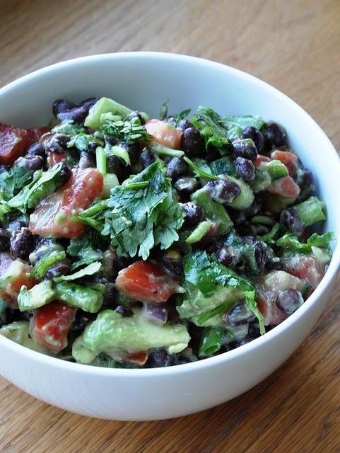 healthy avocado and black bean salad.