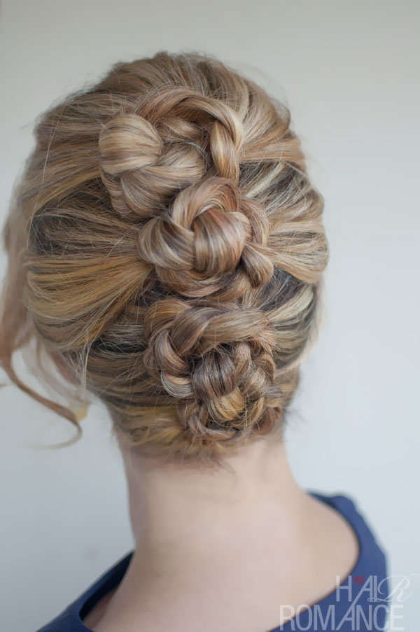 Four ponies, braid, then twist into bun and pin.