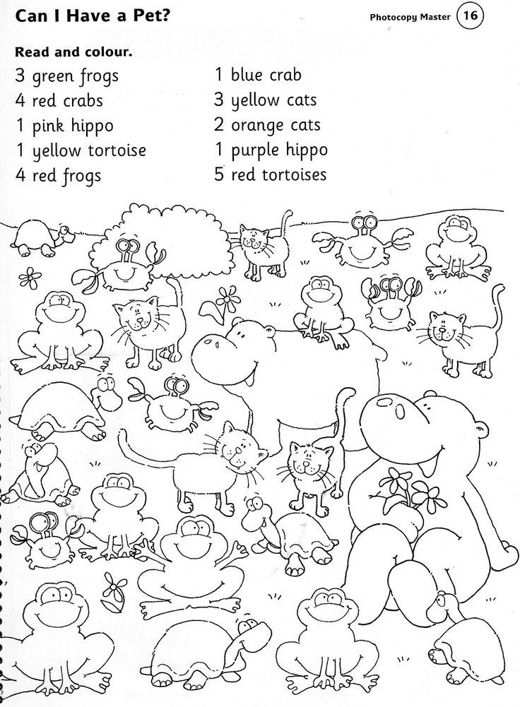 ANIMALS WORKSHEET read and colour