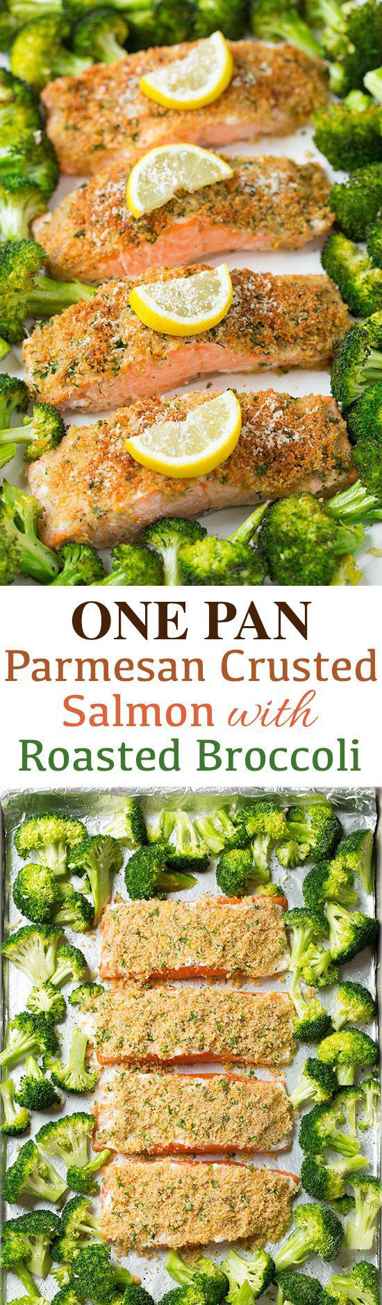 One Pan Parmesan Crusted Salmon with Roasted Broccoli