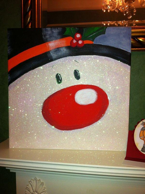 Paint a snowman on a board or canvas -   Cute Christmas decoration ideas