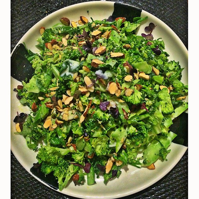 #Raw // Broccoli-Slaw w/ smoked almonds #rawfoods