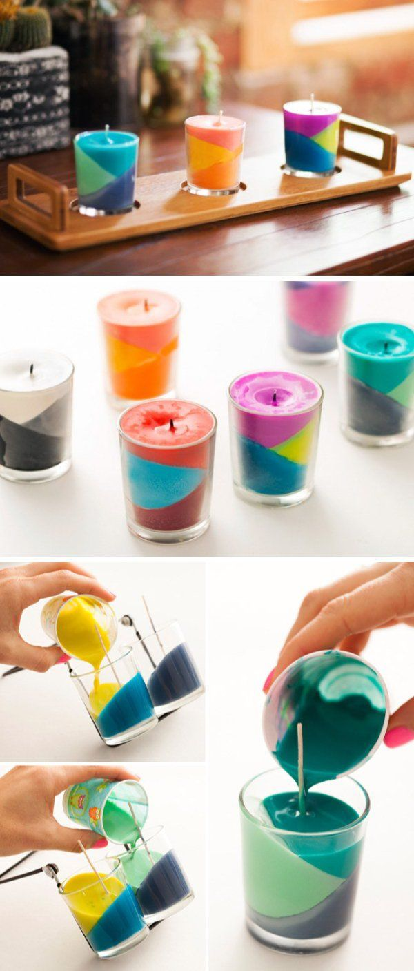 Color Block Crayon Candles. Using old crayons on hand to create this lovely and fu