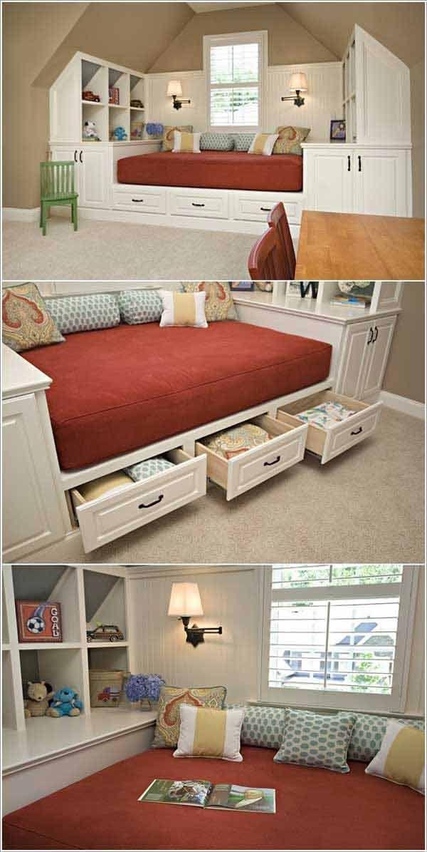 11. Glass Tile Bathroom get idea from beach. Source: susanjablon.com 12. Building a bed with hidden storage under a slanted