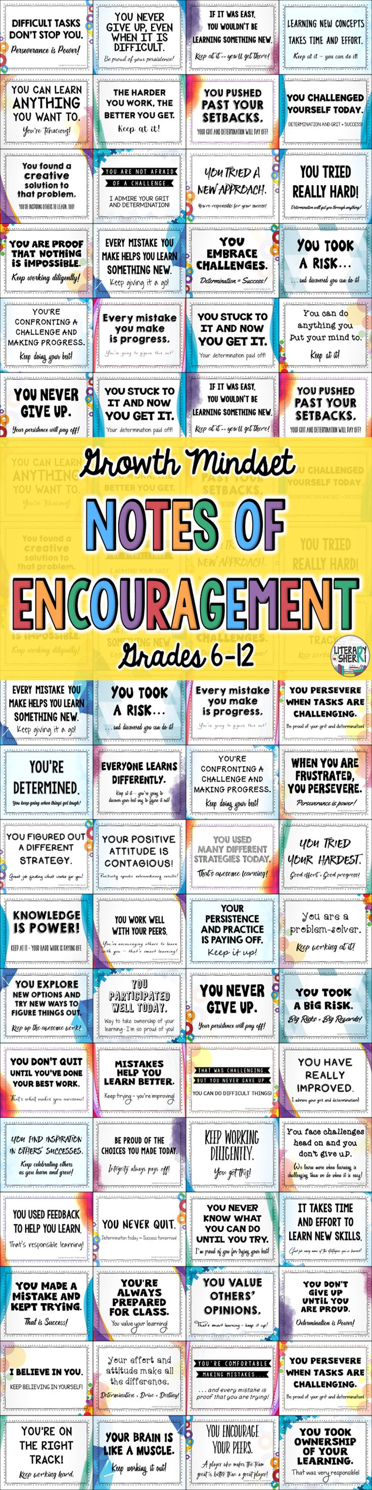 72 unique Growth Mindset Notes encourage middle school and high school students to
