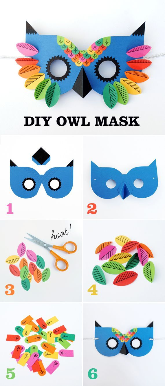 Máscara de coruja em papel com gabarito para imprimir .Great art and craft kits and nursery decor gillsonlinegems.b…