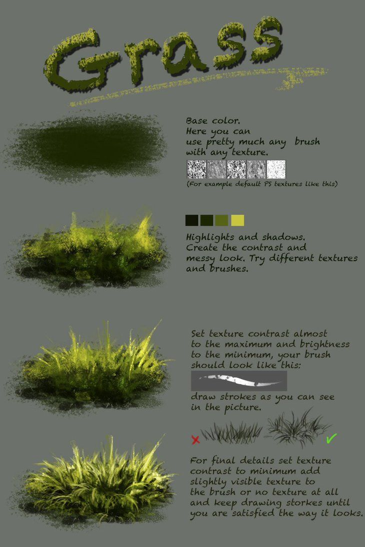 Difference between texture and plain brushnthartyfievi.deviantart.com/ar More tutorials are coming soon. grass, trees, water, ice