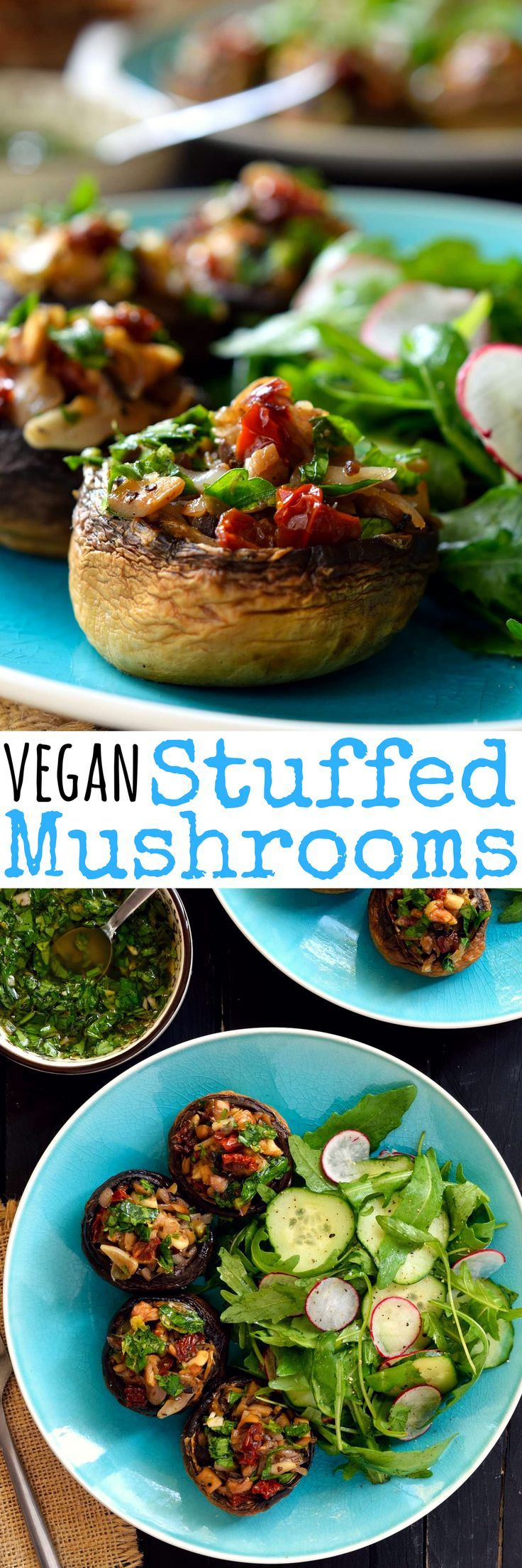 Vegan stuffed mushrooms are easy to make and packed with fresh herb-y, garlicky, citrus-y deliciousness. These little guys are