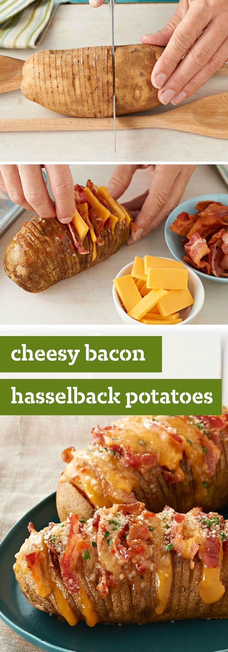 Cheesy Bacon Hasselback Potatoes – Hasselback potatoes always look great on a dinner plate. This cheesy version, made with OSCAR