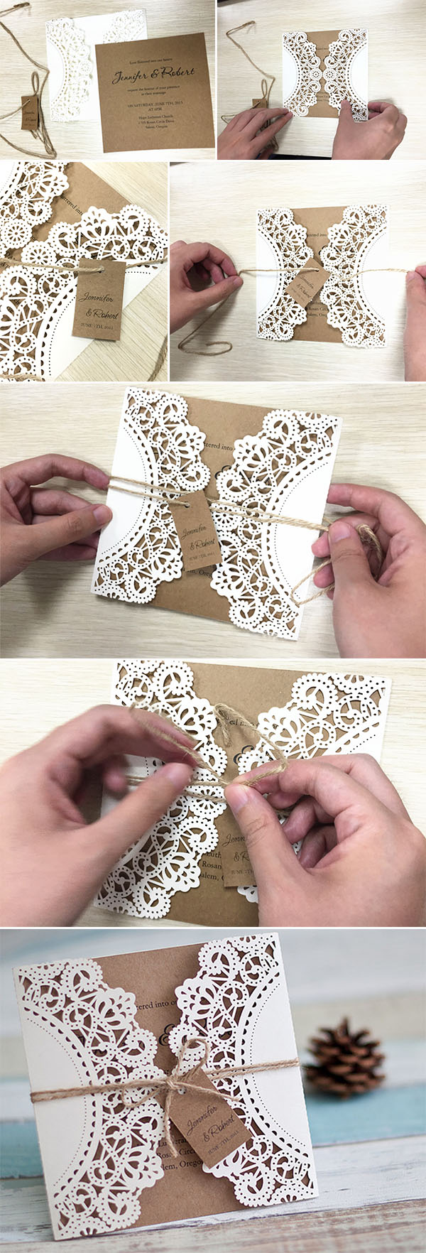 diy lace and burlap laser cut rustic wedding invitations for country wedding ideas
