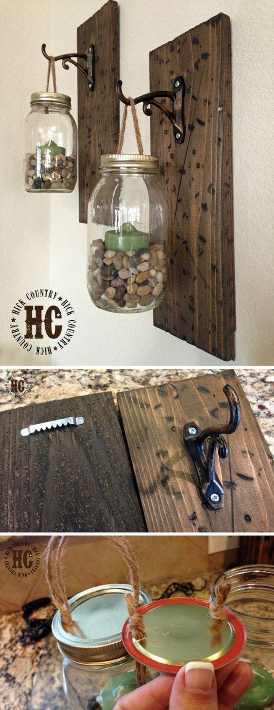 20+ DIYs for Your Rustic Home Decor - For Creative Juice Rustic DIY Mason Jar Wall Lanterns.