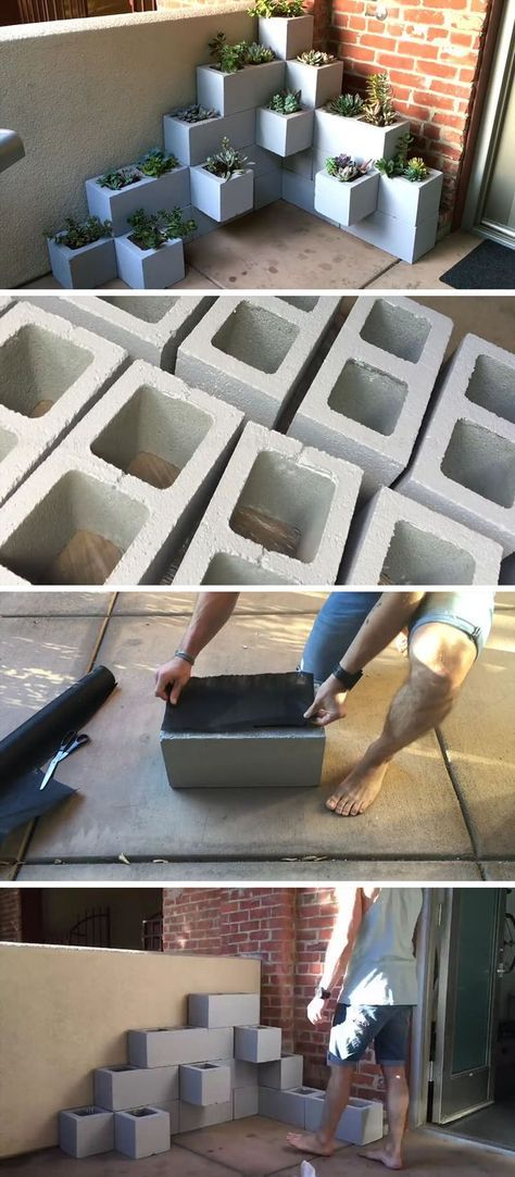 Create your own inexpensive, modern and fully customizable DIY outdoor succulent planter using cinder blocks, landscaping fabric,