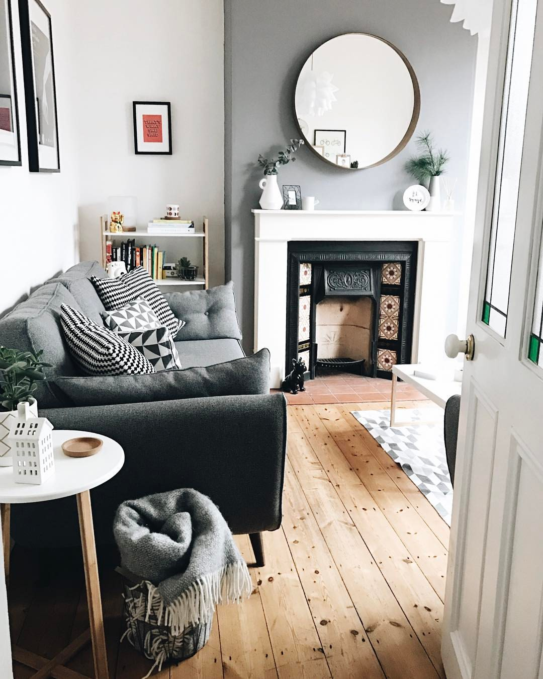 Slate Grey Wall By Dulux. Mirror From Ikea. Sofa From DFS