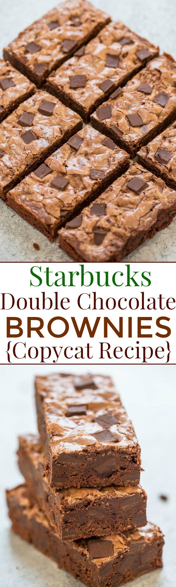 Starbucks Double Chocolate Brownies {Copycat Recipe} – Rich, fudgy, chewy, easy, no mixer recipe that tastes just like Starbucks!!
