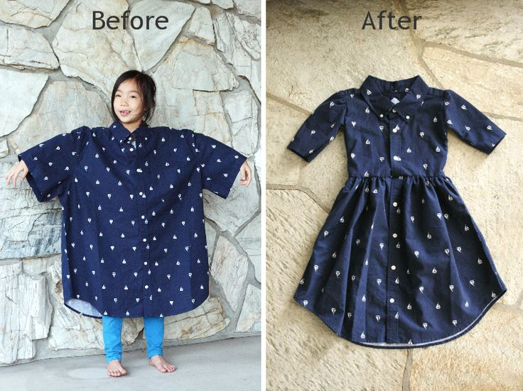 recycling...Mens XL shirt into a girls dress DIY