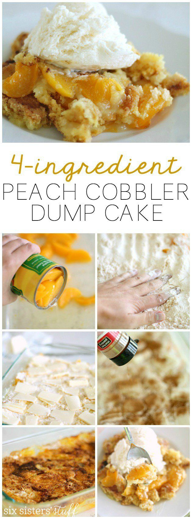 Delicious peach cobbler dump cake that only uses 4 ingredients! | SixSistersStuff.com #cake_recipes_fruit