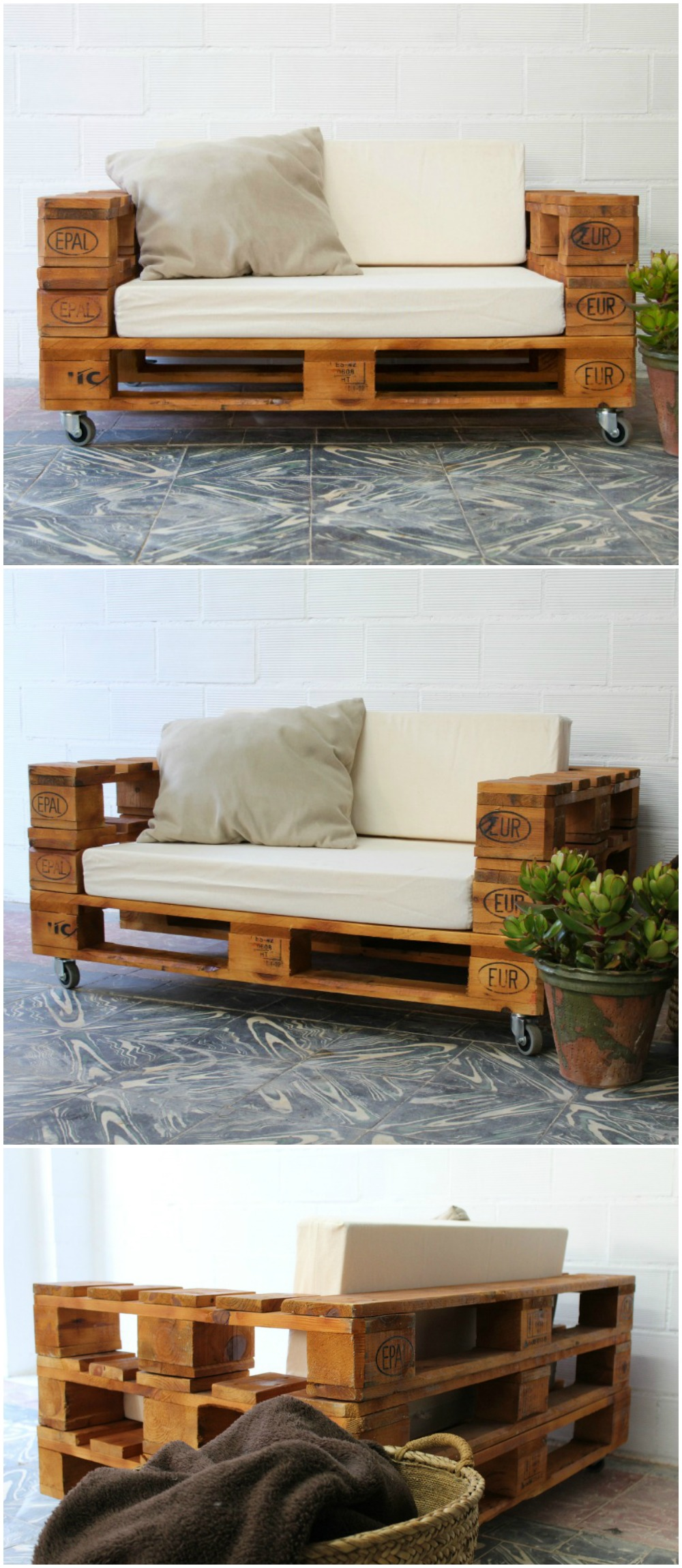 Sof de palets con ruedas sof hecho con palets sof for Muebles jardin con palets
