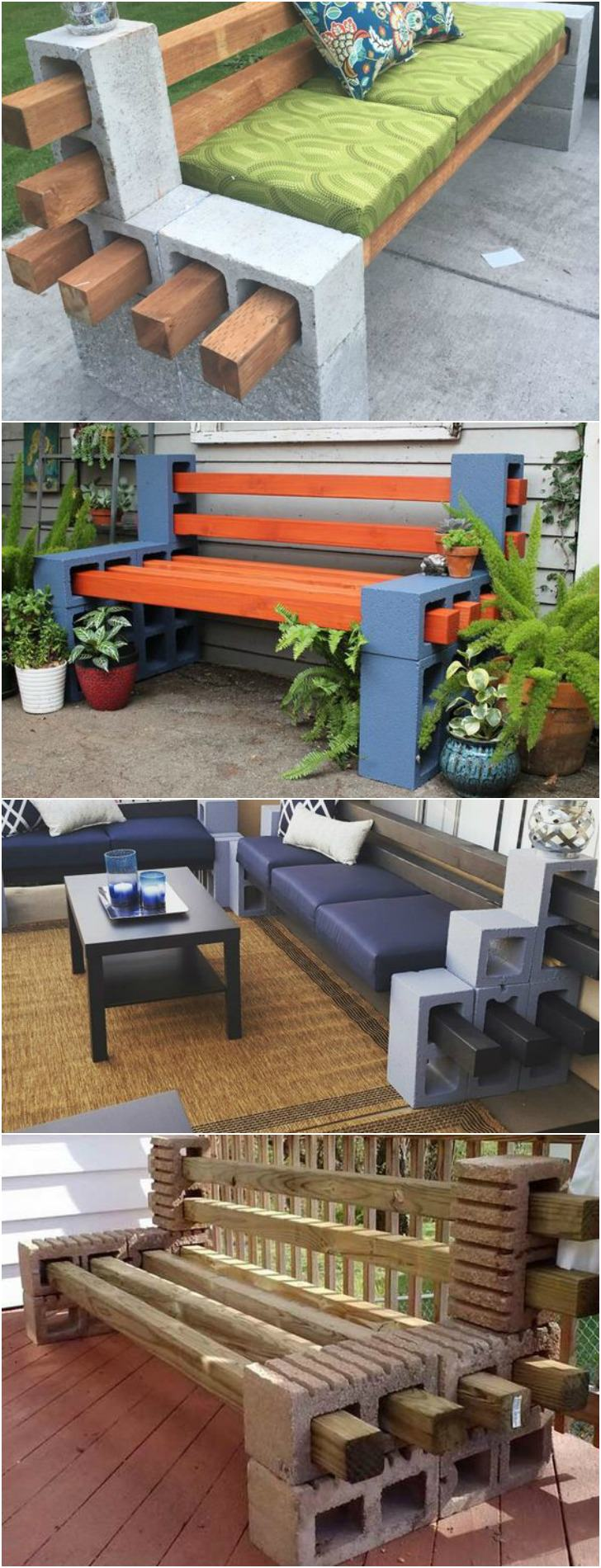 How to Make a Bench from Cinder Blocks