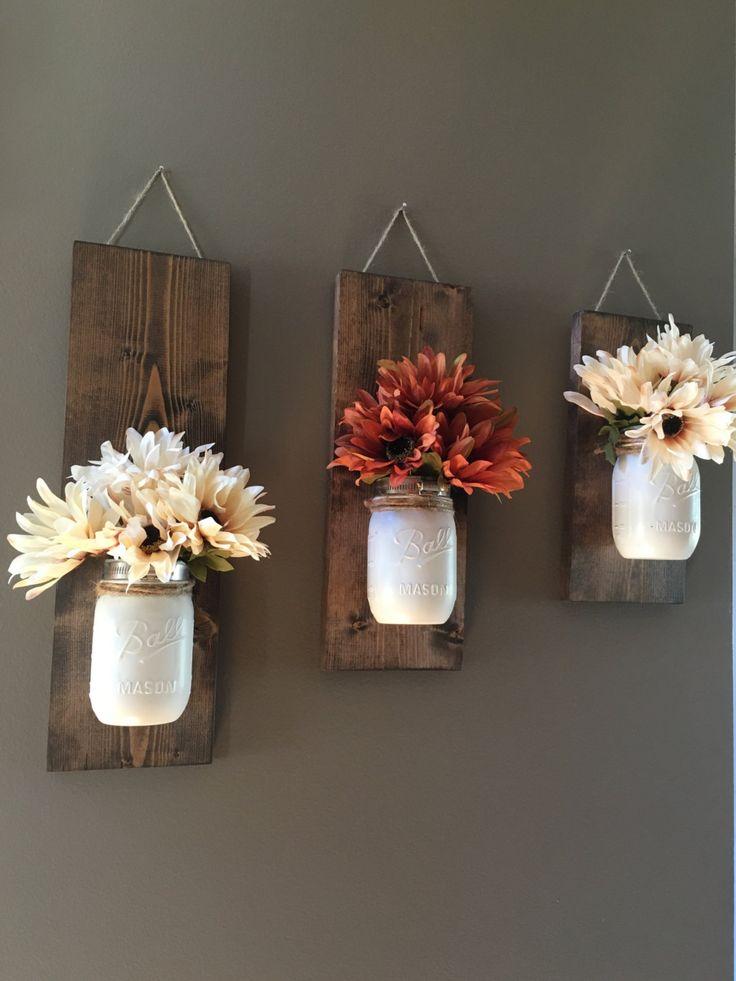 Fall Wall Sconce, Individual Mason Jar Sconce, Flower Vase Mason Jar ... -   Mason Jar Sconce Ideas